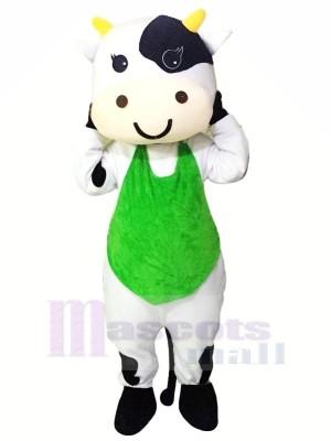 Lait Vache avec vert Gilet Mascotte Les costumes Pas cher