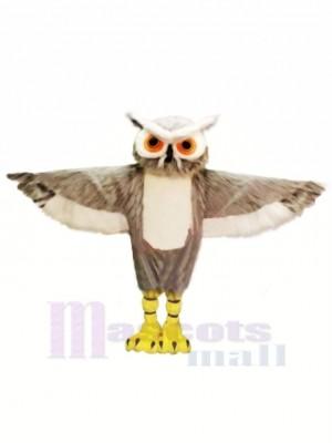 Gris Hibou avec Gros Les yeux Mascotte Les costumes Animal