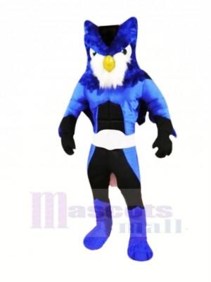 héros Bleu Hibou Mascotte Les costumes Dessin animé