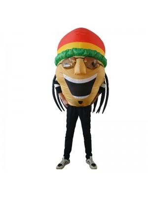 jamaïquain Chanteur Gonflable Costume Halloween Noël Fantaisie Coup en haut Costume pour Adulte Jaune Peau