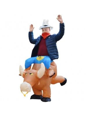 marron Vache Porter moi Baladesur Gonflable Costume Halloween Noël pour Adulte/enfant