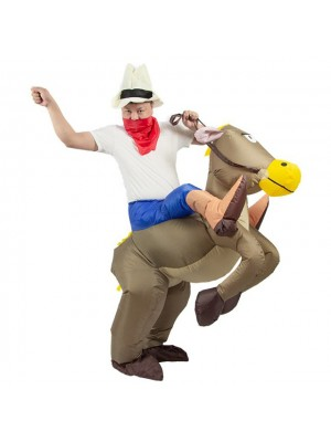 marron Cheval Porter moi Baladesur Gonflable Costume Halloween Noël pour Adulte/enfant