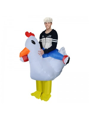 blanc poulet Porter moi Balade sur Gonflable Costume Fantaisie Robe Cosplay Costume pour Adulte