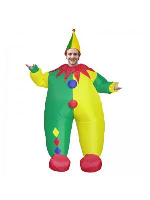 Pitre avec Jaune et vert Chapeau Gonflable Costume Halloween Noël Combinaison pour Adulte