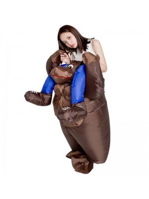 Gorille Porter moi Balade sur Gonflable Costume Singe Orang-outan Gibbon Chimp Costume pour Adulte Bleu