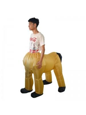 Jaune Centaure Mi-homme Demi-cheval Gonflable Costume Halloween Noël Vacances Costume pour Adulte