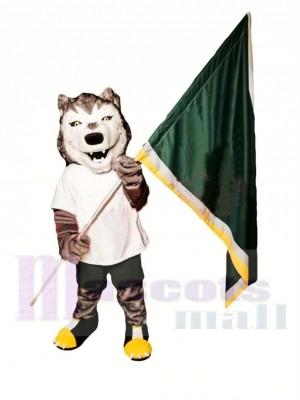 Loup gris et blanc sportif Costume de mascotte
