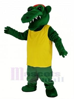 Tuf Gator avec Jaune T-shirt Mascotte Costume Animal