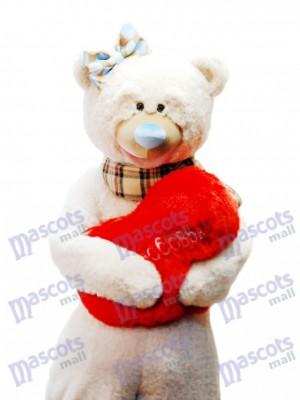 Ours mignon avec noeud écharpe mascotte Costume / coeur rouge NON INCLUS Animal