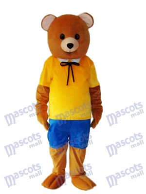 Jaune Shirt Teddy Bear Costume adulte Mascotte
