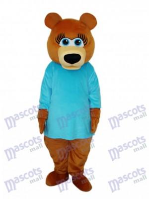 Ms.Bear en bleu T-shirt Mascotte Costume adulte Animal