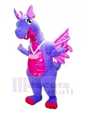 Bleu Dragon avec Violet Ailes Mascotte Les costumes