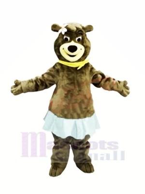 Femelle Ours avec Bleu Jupe Mascotte Les costumes Animal