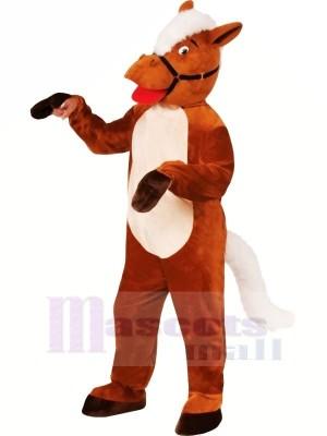 Souriant marron Cheval Mascotte Les costumes Dessin animé