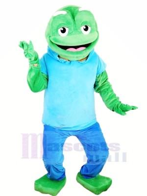 Gros vert La grenouille avec Bleu T-shirt Mascotte Les costumes Animal