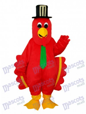 Oiseau rouge avec chapeau noir mascotte Costume adulte Animal