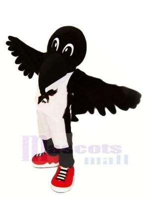 Noir corbeau avec rouge Des chaussures Mascotte Les costumes Animal