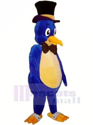 Bleu Oiseau avec Noir Chapeau Mascotte Les costumes Animal