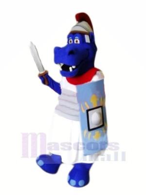 Courageux Bleu Hippopotame Mascotte Les costumes Animal