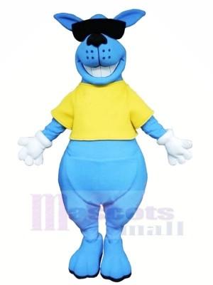 Souriant Bleu Kangourou Mascotte Les costumes Animal
