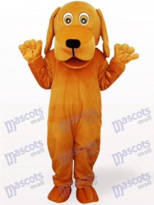 Chien brun avec le costume adulte de mascotte adulte de grande bouche