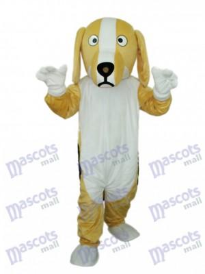 Costume adulte mascotte kaki et blanc chien