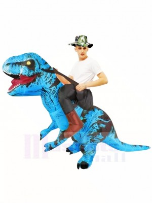 Tyrannosaure bleu T-Rex Gonflable Porte moi Ride On Costume