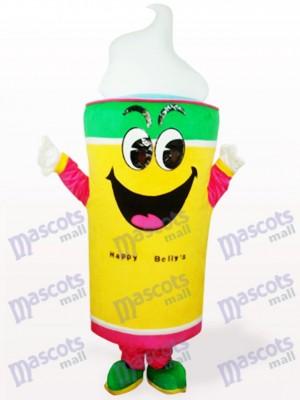 Costume de mascotte adulte crème glacée jaune