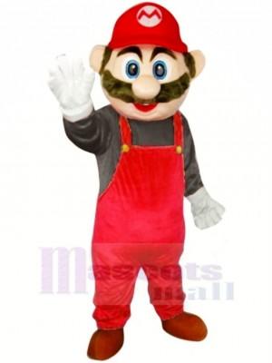 Super Mario avec rouge Salopette Mascotte Costume Dessin animé