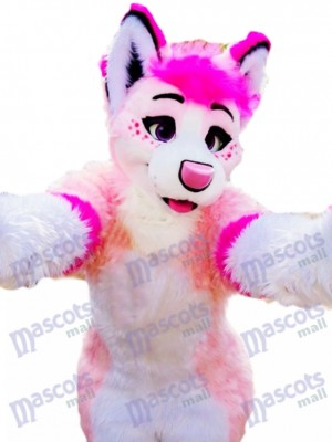 Rose Rauque Chien Adulte Mascotte Costume Animal Dessin animé