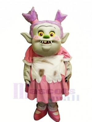 Trolls avec Rose Robe Mascotte Les costumes Dessin animé