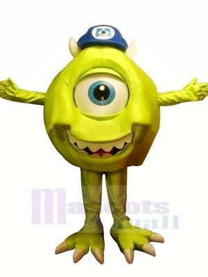 vert Monstre Mike avec Bleu Chapeau Mascotte Les costumes Dessin animé