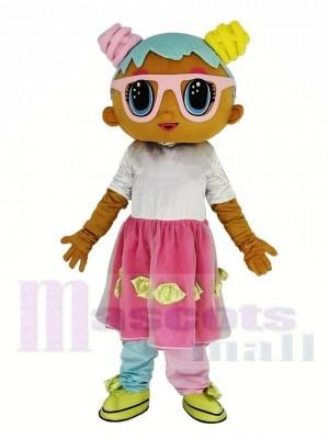 Géant LOL Poupée Bonbon Portant Rose Lunettes Mascotte Costume