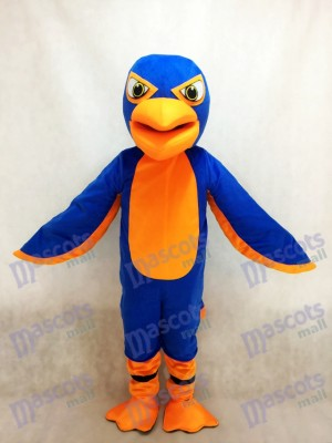 Costume de mascotte bleu royal et orange faucon amical