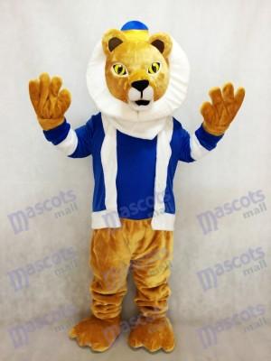 Roi mignon Lionel Costume de mascotte de lion avec les vêtements bleus et la couronne