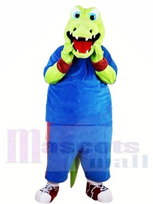 vert Alligator avec Bleu Costume Mascotte Les costumes Animal
