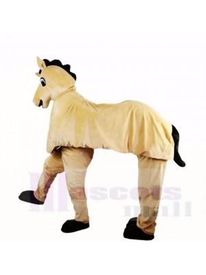 Dessin animé mignon de costumes de mascotte de cheval à deux hommes