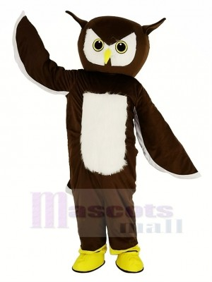 marron Hibou Mascotte Costume Animal