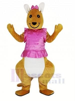 Rose Robe Kangourou Mascotte Costume Animal