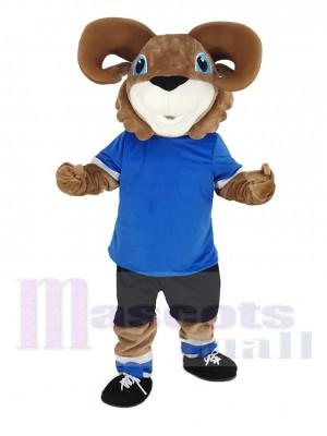 marron RAM avec Bleu T-shirt Mascotte Costume Animal