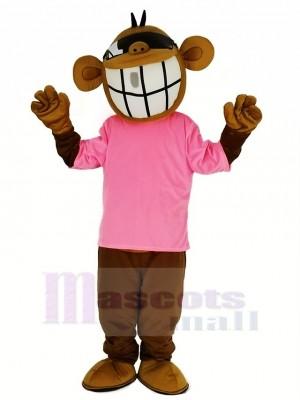 Cool Marrant Singe avec Rose T-shirt Mascotte Costume Animal