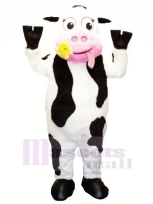 blanc et Noir Vache avec Rose Bouche Mascotte Les costumes Dessin animé