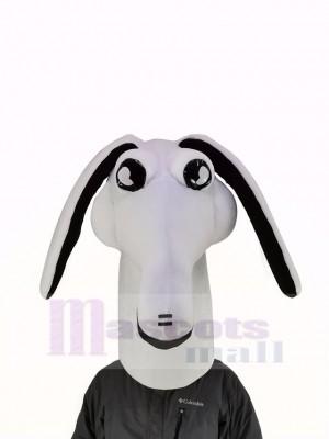 blanc Aardvark Mascotte Costume Animal Tête Seulement