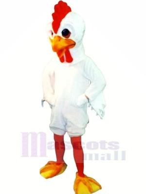 Svelte blanc Coq Mascotte Les costumes Dessin animé
