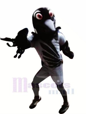 Drôle Noir Aigle Mascotte Les costumes Dessin animé