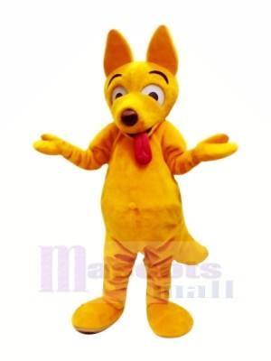 Jaune Chien avec Longue Langue Mascotte Les costumes Dessin animé
