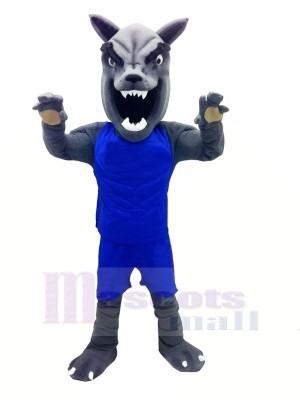 Loup avec Bleu Gilet Mascotte Déguisements Dessin animé