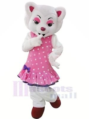 blanc Beau Loup dans Rose Mascotte Déguisements Dessin animé