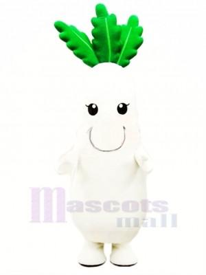 blanc Un radis Légume Mascotte Costume Dessin animé