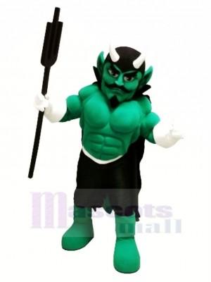 vert Muscle Diable Mascotte Costume Dessin animé